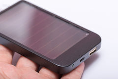 Black metal solar power bank charger Royalty Free Stock Image