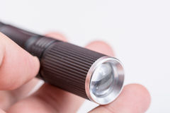 Black metal torchlight battery lamp Royalty Free Stock Image