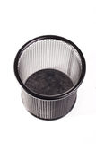 Black metal trash bin on white background Royalty Free Stock Photography