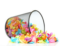 Black metal trash with colored paper on white background Royalty Free Stock Image