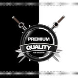 Black Metal Vector Icon. Black glossy medal label Royalty Free Stock Image