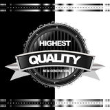 Black Metal Vector Icon. Black glossy medal label Royalty Free Stock Images