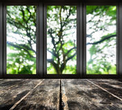 Black metal window  with blur tree view Royalty Free Stock Photos
