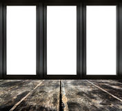Black metal window frame on wooden floor Stock Photo
