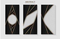 Black metalblad met gouden randen op het zwarte netwerk als achtergrond vector illustratie