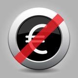 Black metallic ban button, euro currency symbol Royalty Free Stock Photo