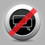 Black metallic ban button - white speech bubbles royalty free illustration