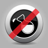 Black metallic button-flask with drop, banned icon royalty free illustration
