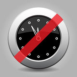 Black metallic button, last minute clock ban icon royalty free illustration