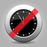 Black metallic button, last minute clock ban icon. Black and gray metallic button with shadow. White last minute clock banned icon vector illustration
