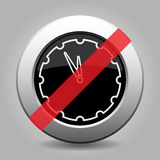 Black metallic button - last minute clock ban icon. Black and gray metallic button with shadow - white last minute clock banned icon stock illustration