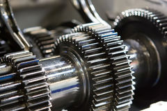 Black metallic gears in car motor Stock Image