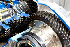 Black metallic gears in motor Royalty Free Stock Photos