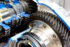 Black metallic gears in motor Royalty Free Stock Photos