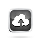 Black metallic icon with cloud and arrow Stock Photo