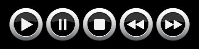 Black metallic music control buttons set royalty free illustration
