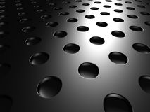 Black Metallic Perforated Dots bBackground Stock Photo
