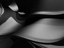 Black metallic soft smooth abstract lines and curves background. 3d render illustration Stock Photography