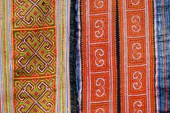 Black Miao minority women traditional costume textile detail. Town of Sapa, north-west of Vietnam. Деталь трад�. Textile stock photography