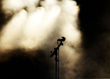 Black Mic and Golden Lights Stock Photography