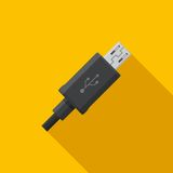 Black micro USB cable cord icon on yellow background. Royalty Free Stock Image