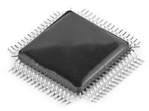 Black microchip. With a set of legs Stock Photos
