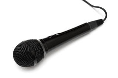 Black microphone. Isolated on a white background Royalty Free Stock Photos