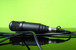 Black microphone cable Royalty Free Stock Images