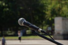 Black microphone close up. Outdoor.  stock photos