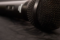 Black microphone closeup Stock Photo