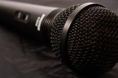 Black microphone closeup Stock Images