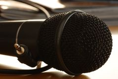 Black microphone closeup Royalty Free Stock Images