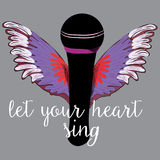 Black microphone with colorful wings. Let your heart sing. Vector illustration on grey background. Hand drawn black microphone with colorful wings. Let your royalty free illustration