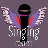 Black microphone with colorful wings. Singing contest. Vector illustration on dark violet background. Hand drawn black microphone with colorful wings. Singing stock illustration