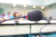 Black microphone in conference room ( Filtered image processed v Royalty Free Stock Photo