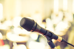 Black microphone in   conference room Royalty Free Stock Photo