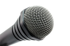 Black microphone in the corner Stock Image