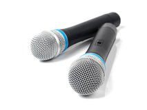 Black microphone isolated on white Stock Images