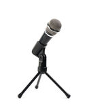 Black microphone on a rack isolated stock photos
