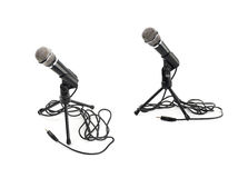 Black microphone on a rack isolated stock image