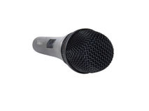 Black microphone on white Royalty Free Stock Photography