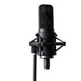 Black microphone on a white background Stock Image