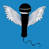 Black microphone with wings. Vector illustration on blue background. Hand drawn black microphone with wings. Vector illustration on blue background stock illustration