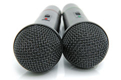 Black microphones. Universal dynamic microphones for a sound recording Stock Image