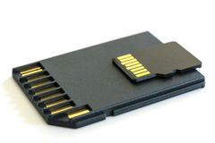 Black microSD memory card and SD card adapter Royalty Free Stock Photos