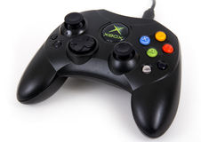 Black Microsoft Xbox first generation Controller over white background Royalty Free Stock Photo