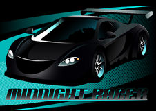 Black midnight racer sports car Royalty Free Stock Photo