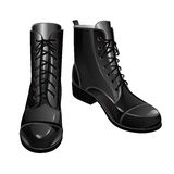 Black miliraty boots Royalty Free Stock Photos