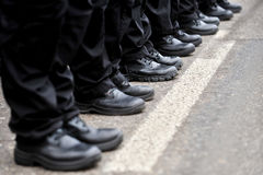 Black military boots in a row Stock Photo