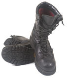 Black military leather boots Royalty Free Stock Photos